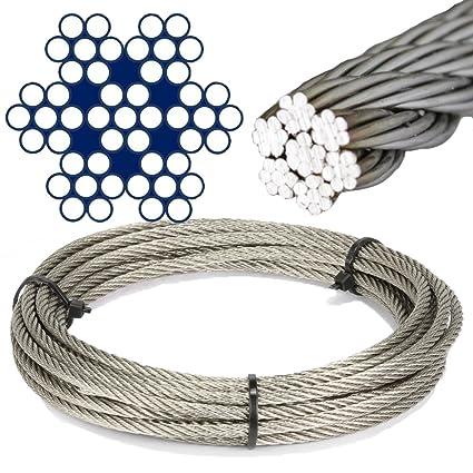 10 M de acero inoxidable - de alambre cuerda de 7 x 7 medio ...