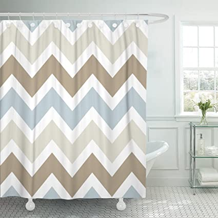 Accrocn Waterproof Shower Curtain Curtains Fabric Smoky Blue Gray Tan Brown Chevron Pattern Extra Long