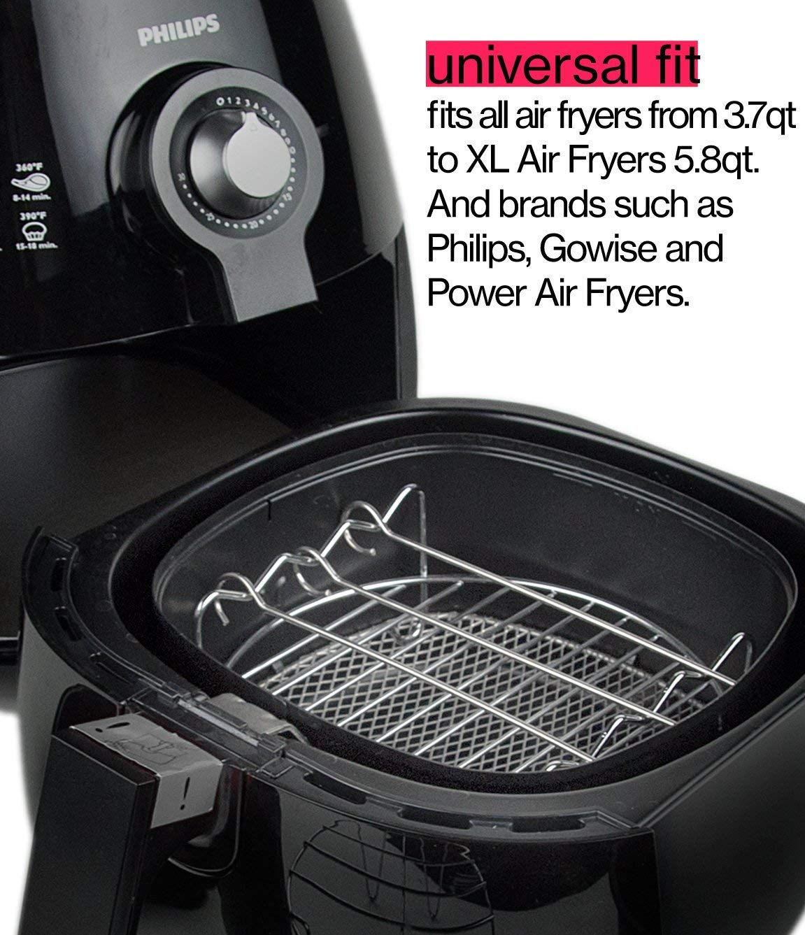 Gowise Universal XL power Air Fryer Accessory Kit Fit All 3.5QT-3.7QT 5.3QT-5.8QT Ptsaying Air Fryer Accessories 10 sets +20  cookbook -7 Inch air fryer basket baking pan,For Phillips