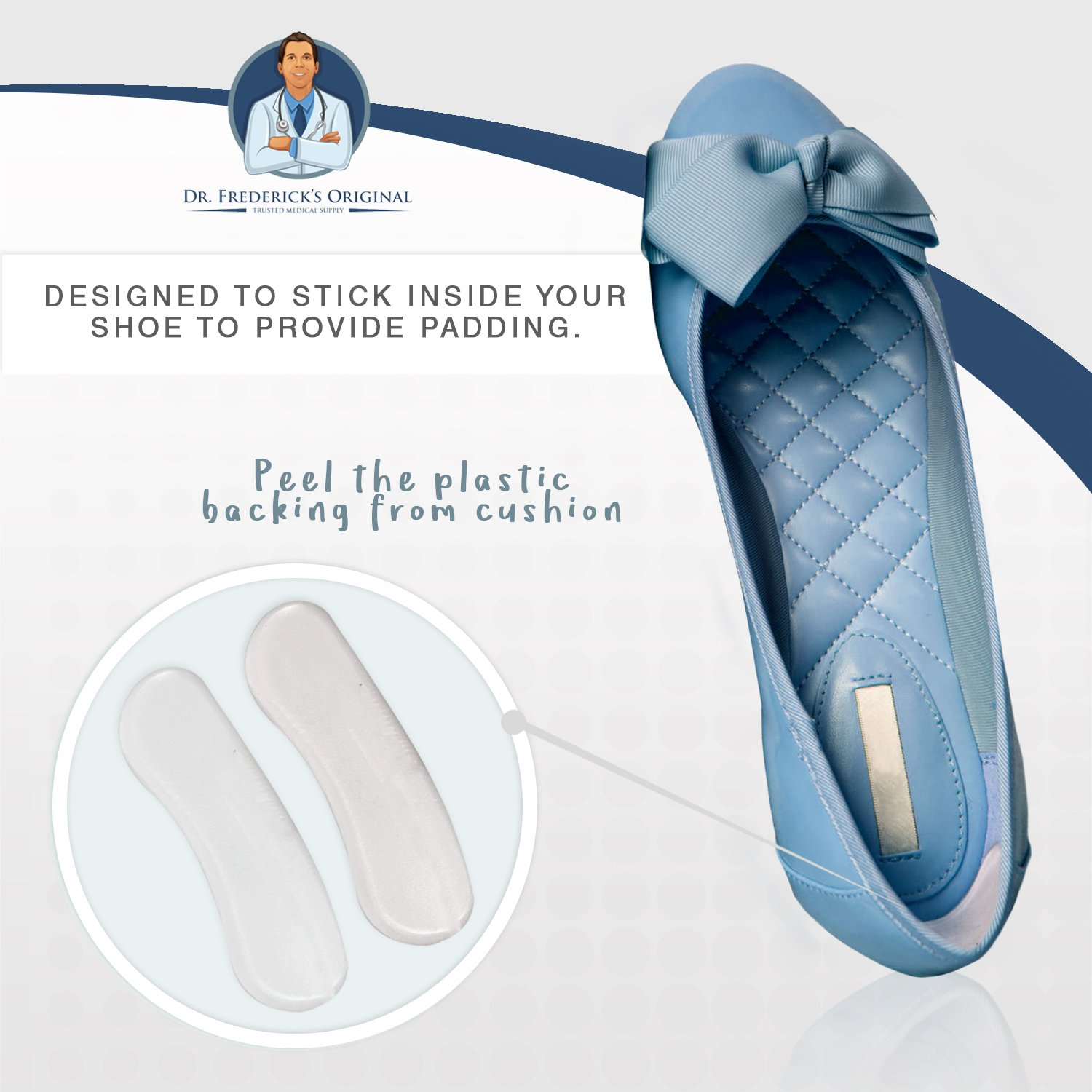 Dr. Frederick's Original Protective & Flexible Heel Grips Set - 10 Pieces - Adhesive Gel Heel Protectors to Prevent Blisters & Cuts - Heel Cushion Set for High Heels, Dress Shoes, Slip-Ons, and More by Dr. Frederick's Original (Image #7)