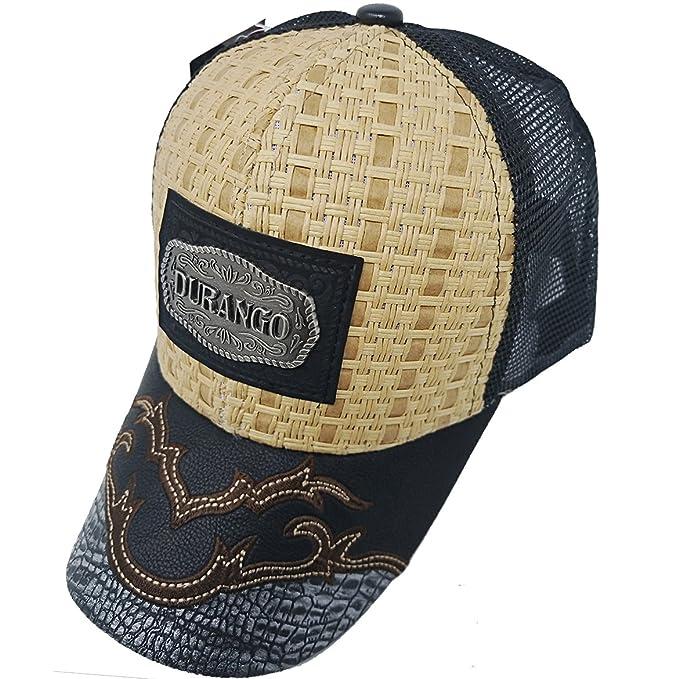 cf74015e6be0c MrKap Mexico Straw Durango Hat Metallic Patch Baseball Mesh Cap (Durango A  Black) at Amazon Men s Clothing store