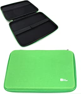"DURAGADGET Bright Green Tough EVA 10"" Protective Zip Case with Internal Elasticated Strap for New Dell Venue 10 Pro 5000 Series 10.1"" / Dell Latitude 10"