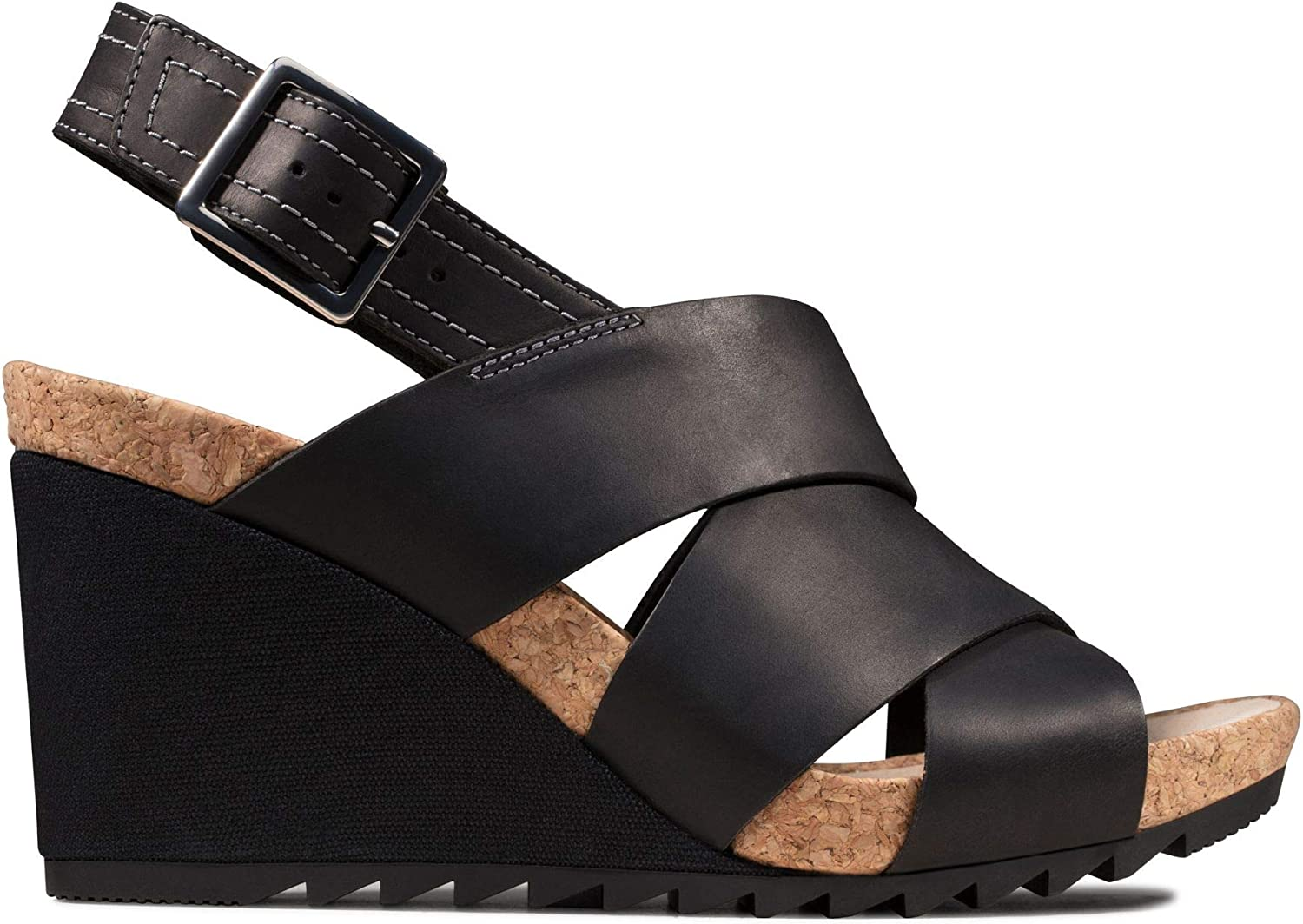 Clarks Damen Flex Sand Slingback Sandalen Schwarz Black Leather Black Leather