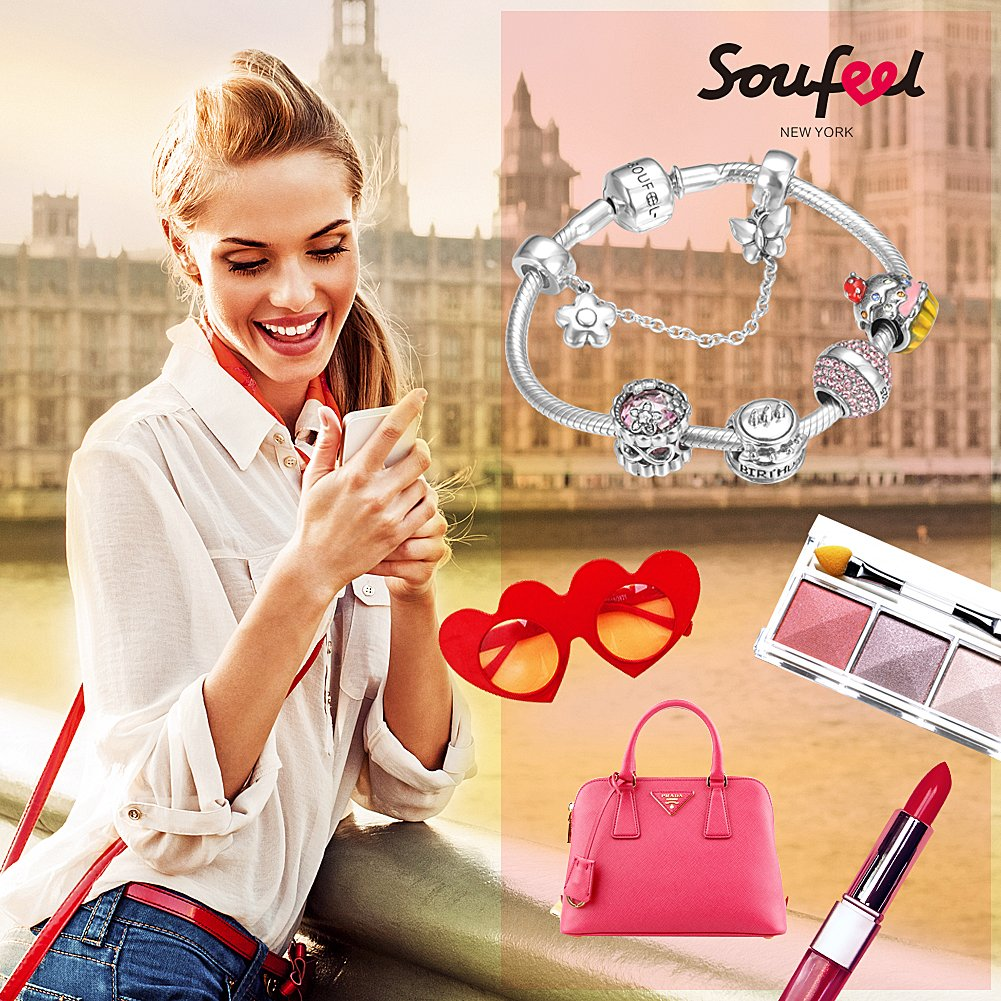 SOUFEEL ''Happy Birthday'' Bracelet 925 Sterling Silver Charm Bracelets 9.1 Inch With Safety Chain Birthday Gift by SOUFEEL (Image #6)