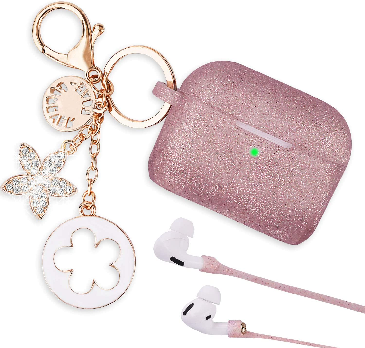 Airpods Pro Case - VIGOSS Airpods 3 Case 2020 Silicone for AirPods Pro Case Cover Women Protective Wireless Charging Case with Accessories Keychain/Strap Rose Gold