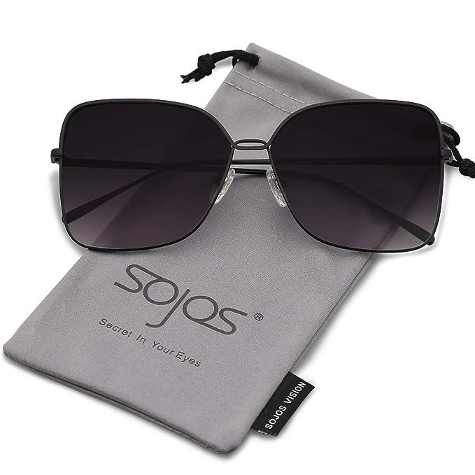 SOJOS Gafas De Sol Para Mujer Moda Cuadrado Oversized Lente Plano Marco  Metal SJ1082 Con Marco Negro Lente Gradiente Gris  Amazon.es  Ropa y  accesorios 6773e915ea55