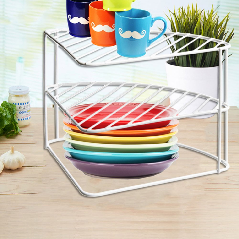 FunkyBuys® 3 Tier White Steel Corner Kitchen Plates Rack Tidy Cupboard Organizer Storage Space Saver Shelf Dryer- 23x34x25 cm-(SI-K1036) FB FunkyBuys®