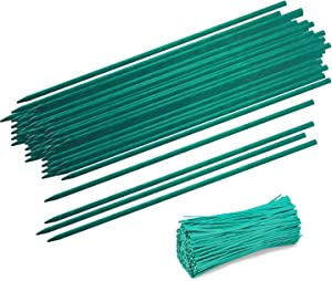 "Lainrrew 120 Pcs Wood Plant Stakes, Floral Picks Wooden Sign Posting Garden Sticks Plant Support Bamboo Stake with 120 Green Twist Ties for Plants Garden (45cm/ 17.7"")"