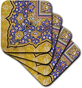 3dRose cst_162530_3 Purple and Matte Gold Arabian Floral Pattern. Persian Style Flowers and Swirls. Arab Islamic-Ceramic Tile Coasters, Set of 4