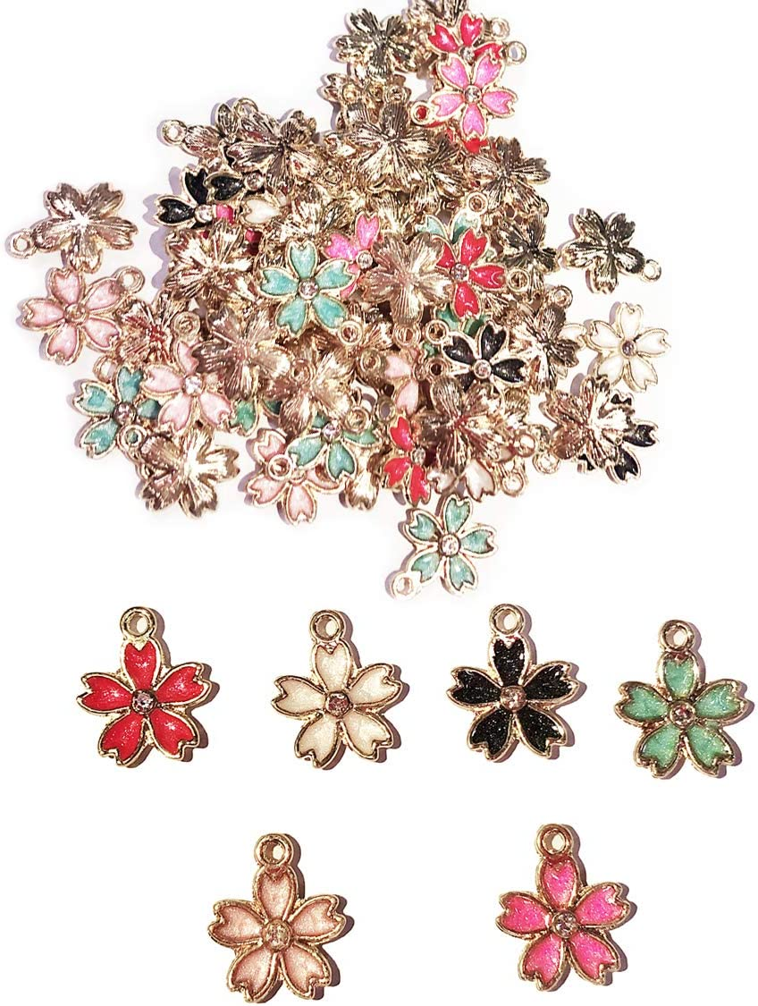 10Pcs//lot Cute Enamel Charms Sakura Flower Pendant Alloy DIY Jewelry Accessories
