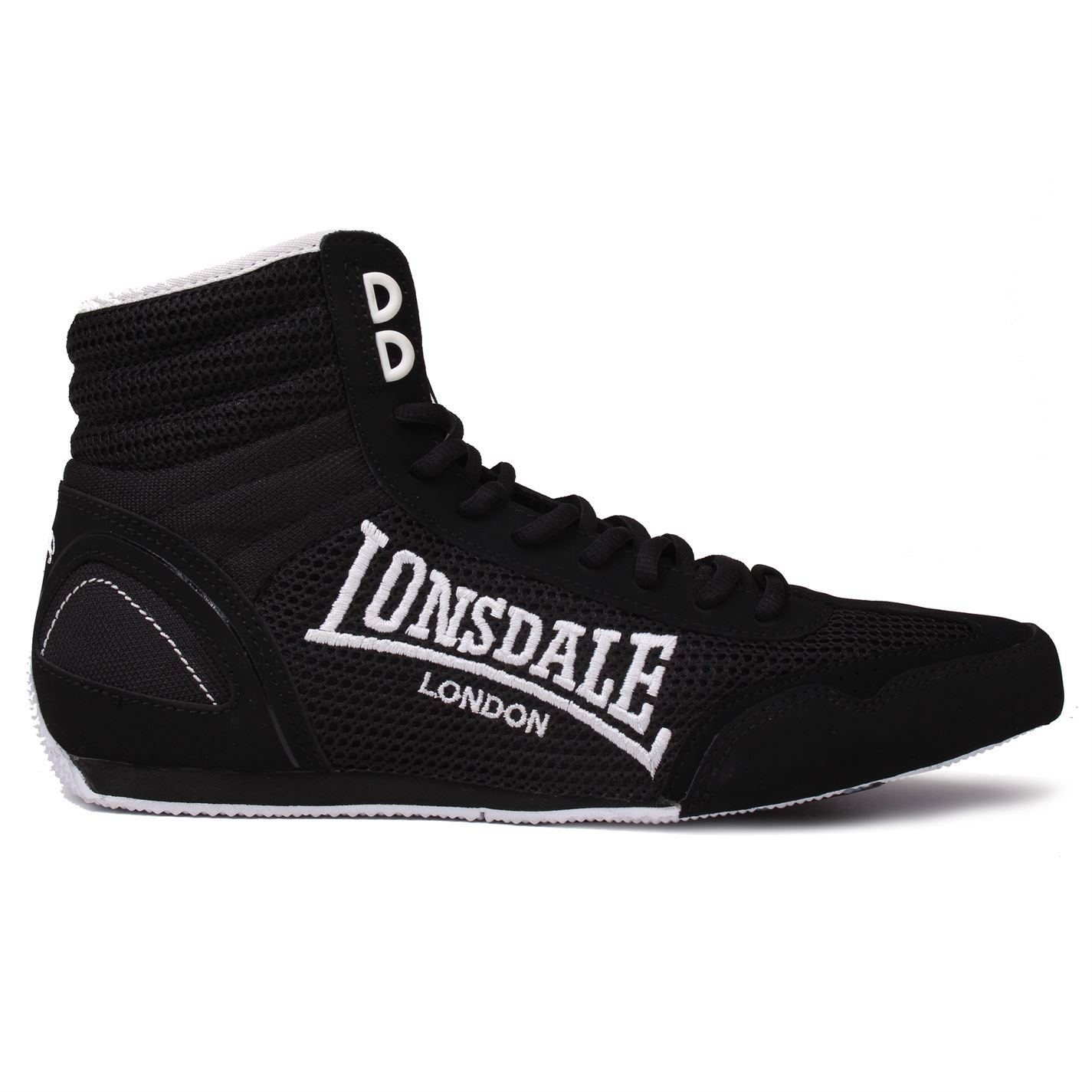 Lonsdale Mens Contender Boxing Boots Mid Cut Full Lace up Lightweight Shoes Black/White UK 8.5 (42.5)