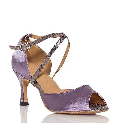 Miyoopark , Damen Tanzschuhe , - Gray-7.5cm heel - Größe: 34