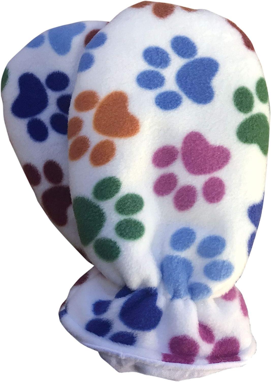Pair of Cuddlz Paw Print Pattern Fleece Adult Sized Padded Mittens