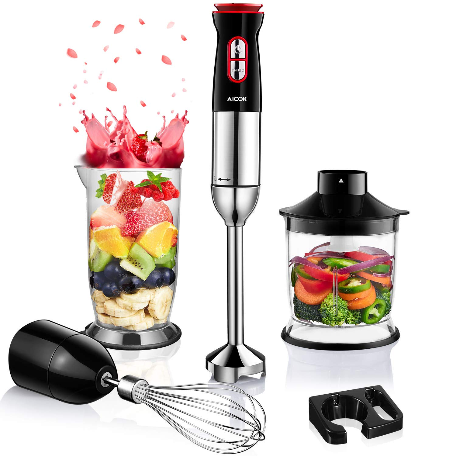 Immersion Blender, Aicok 5-in-1 Ultra-38000RPM Hand Blender Set Includes Food Chopper/ Egg Beater/ Beaker /Shaft/ Wall Bracket, 12-Speed, 304 Stainless Steel, PP Slip-Proof Ergonomic Grip, BPA-Free by AICOK