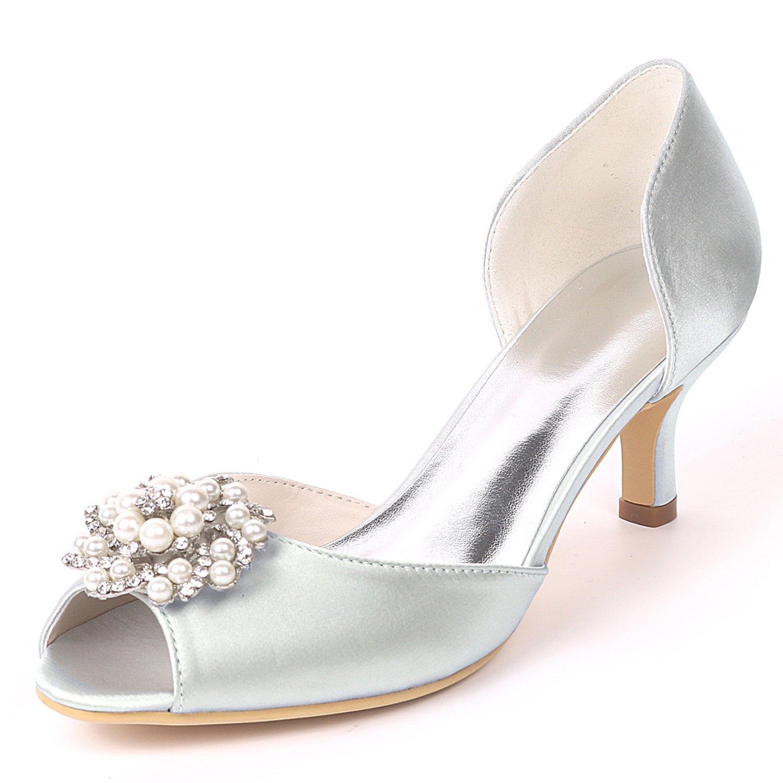 Layearn Frauen Hochzeit Schuhe Low Heel Satin Größe Party Nach Maß Side air Strass Kätzchen Heels  | Up-to-date Styling