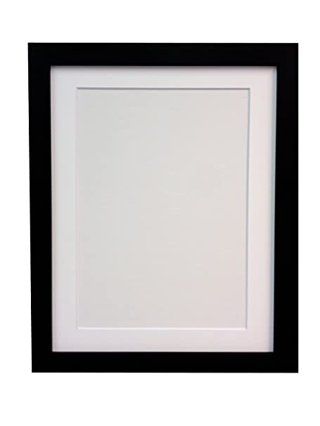 Frames By Post H7 Picture Photo Frame Wood Black With White Mount