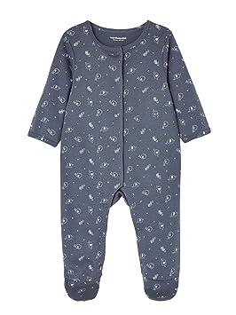 71d3d5fdb1741 VERTBAUDET Lot de 2 pyjamas bébé en coton imprimé pressionnés devant Bleu  jean 3M - 60CM