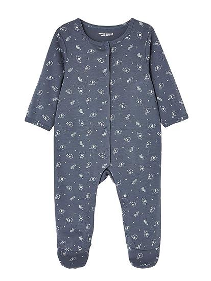 VERTBAUDET Lote de 2 pijamas para bebé de algodón con estampado y automáticos delante AZUL OSCURO