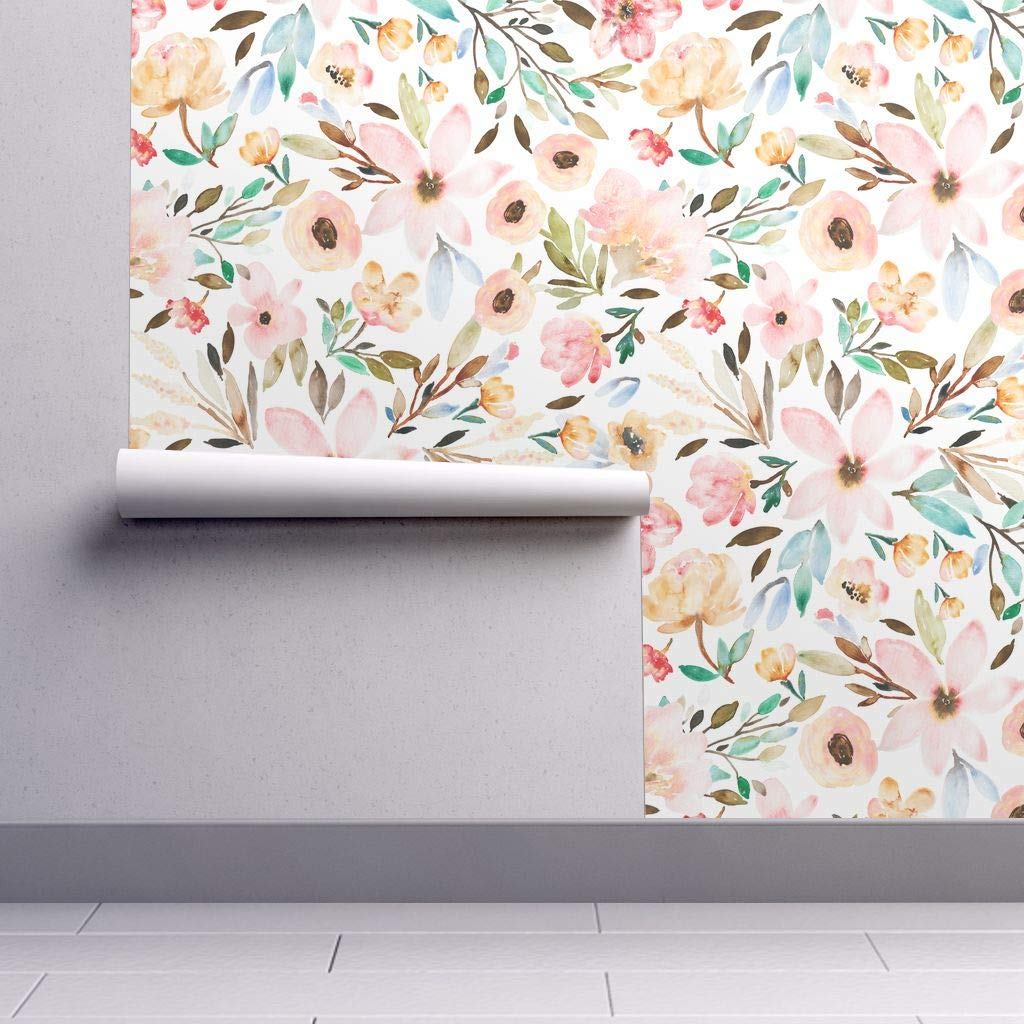 Removable Water Activated Wallpaper Boho Watercolor Floral