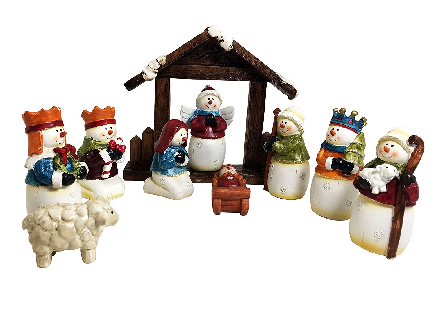 Snowman Nativity Scene 10 Piece Tabletop Creche Figurine Set DuraCasa