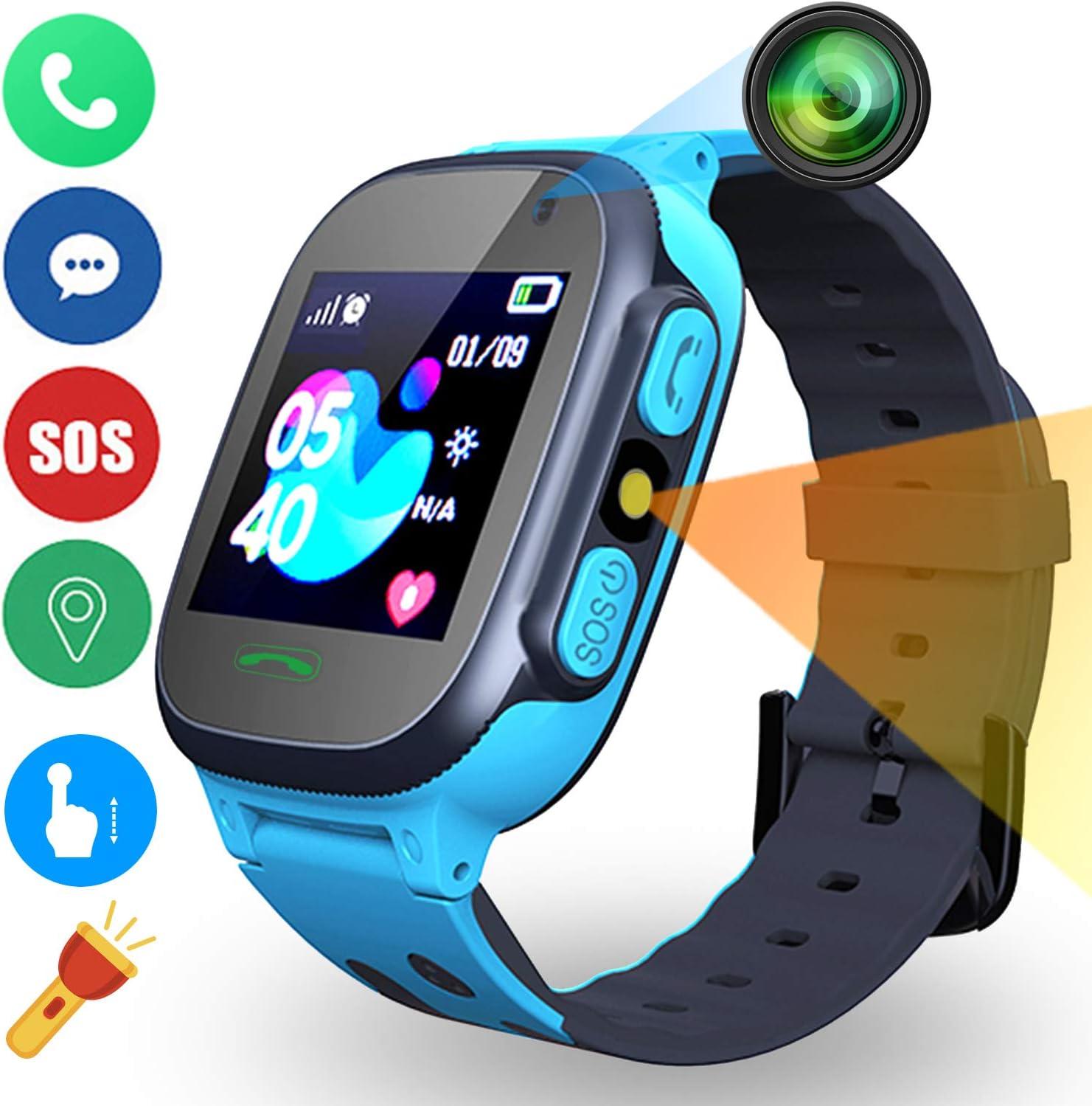 Niños Inteligente Relojes Telefono Estudiante, Relojes Smart Lata Realiza LBS Tracker Posicionamiento SOS Ranura para Tarjeta de Juego Juego de Reloj Inteligente, Regalo Infantil de 3 a 12 Años(Azul)