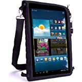 "10 Inch Tablet Bag Sleeve Carry Case and Portable Messenger Sling with Touch-Sensitive Screen Protector by USA Gear - Fits all Apple iPad Air / 10"" Fire / Samsung Galaxy Tab A 10.1 , Note / Microsoft Surface / Lenovo & More"