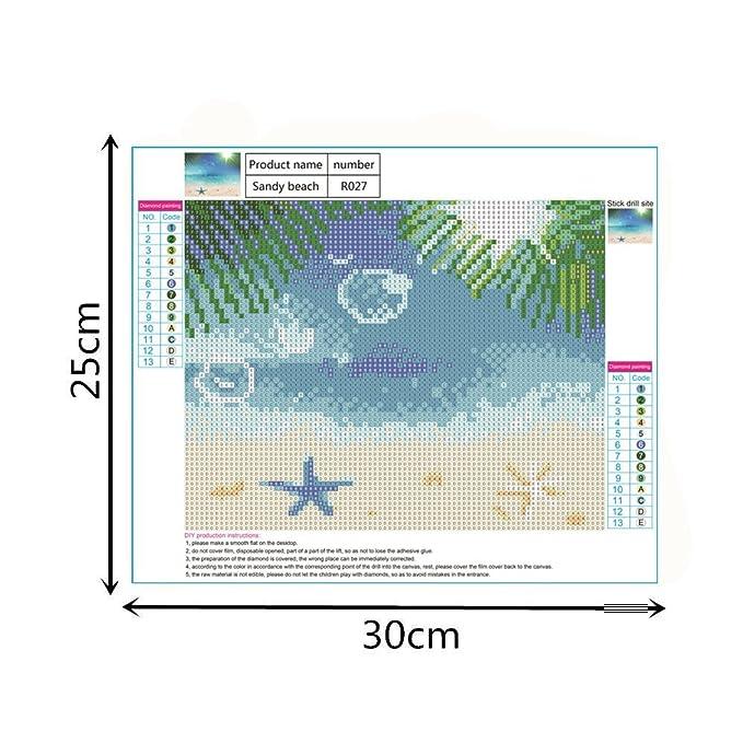24,9/x 30/cm Sandbeach cristallo pieno di diamanti strass dipinto di numero kit punto croce ricamo Craft Home Decor HEWADY DIY 5D Diamond Painting kit