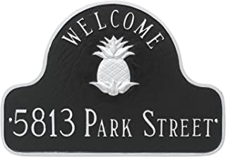"product image for Montague Metal Pineapple Welcome Arch Full Address Sign Plaque, 11"" x 16"", Black/Silver"