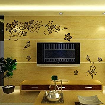 1pcs Black Vine Wall Stickers Butterfly Wall decoration Removable ...