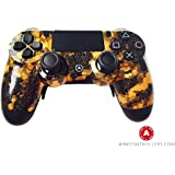 PS4 Wireless Custom AiMControllers Digi Camo Gold Design with Paddles. Left X, right O.