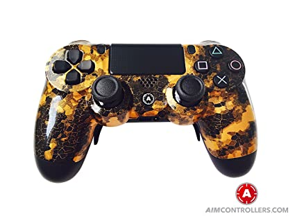 PS4 Slim DualShock Custom Playstation 4 Wireless Controller - Custom  AimController DigiCamo Gold with 4 Paddles  Upper Left Square, Lower Left  X,