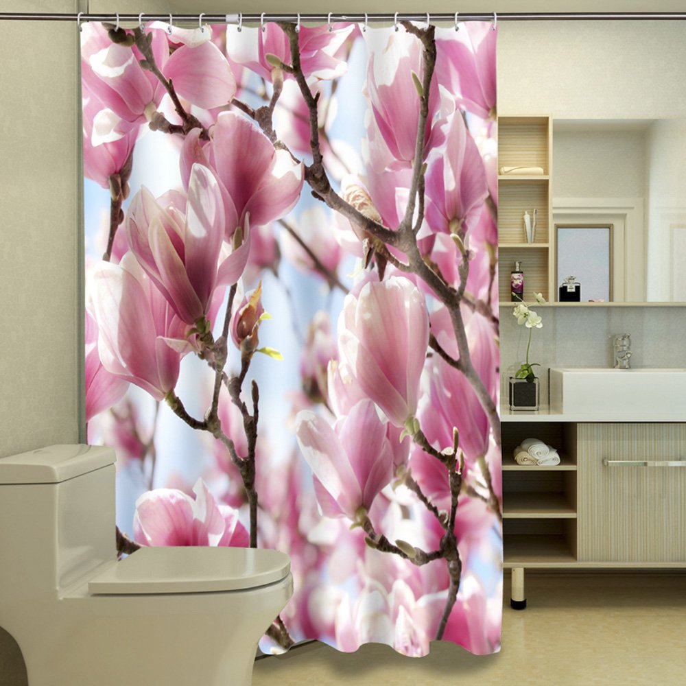 ChezMax 3D Cherry Blossoms Waterproof Bathroom Fabric Shower Curtain with 12 Hooks 59 W x 70 L