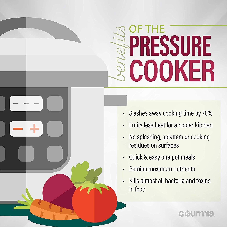 Automatic Keep Warm LCD Display 24-Hour Delay Timer 13 Cook Modes Pressure Sensor Lid Lock Recipe Book Gourmia GPC400 4 Qt Digital Multi-Mode SmartPot Pressure Cooker Removable Pot