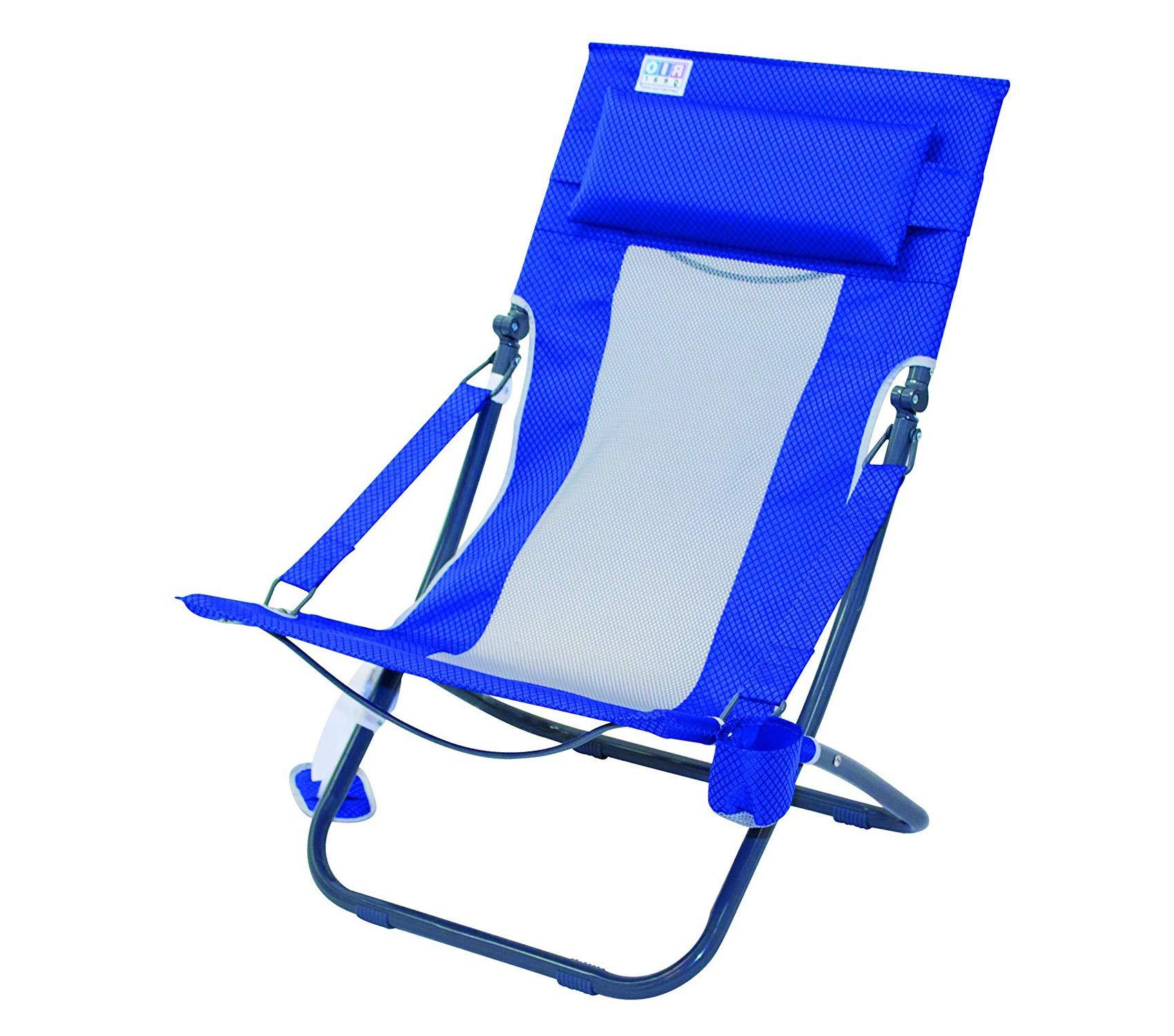 Wood & Style Patio Outdoor Garden Premium Rio Beach Portable Compact Fold Breeze Beach Sling Chair, Blue Textured