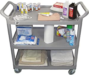 Crayata Medical Utility Cart, Supply, Service and Transport 3 Shelf Rolling Cart on Wheels, Large (Gray)