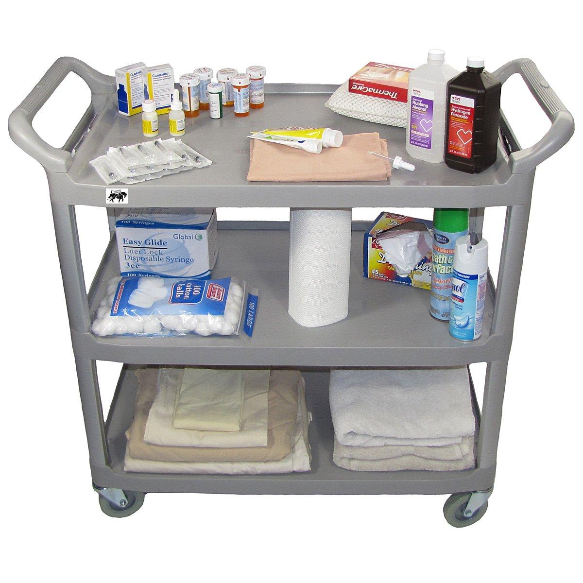 Crayata Hospital Comfort Cart, 3 Shelf Hospitality, Medical and Service Utility Cart, Large Gray