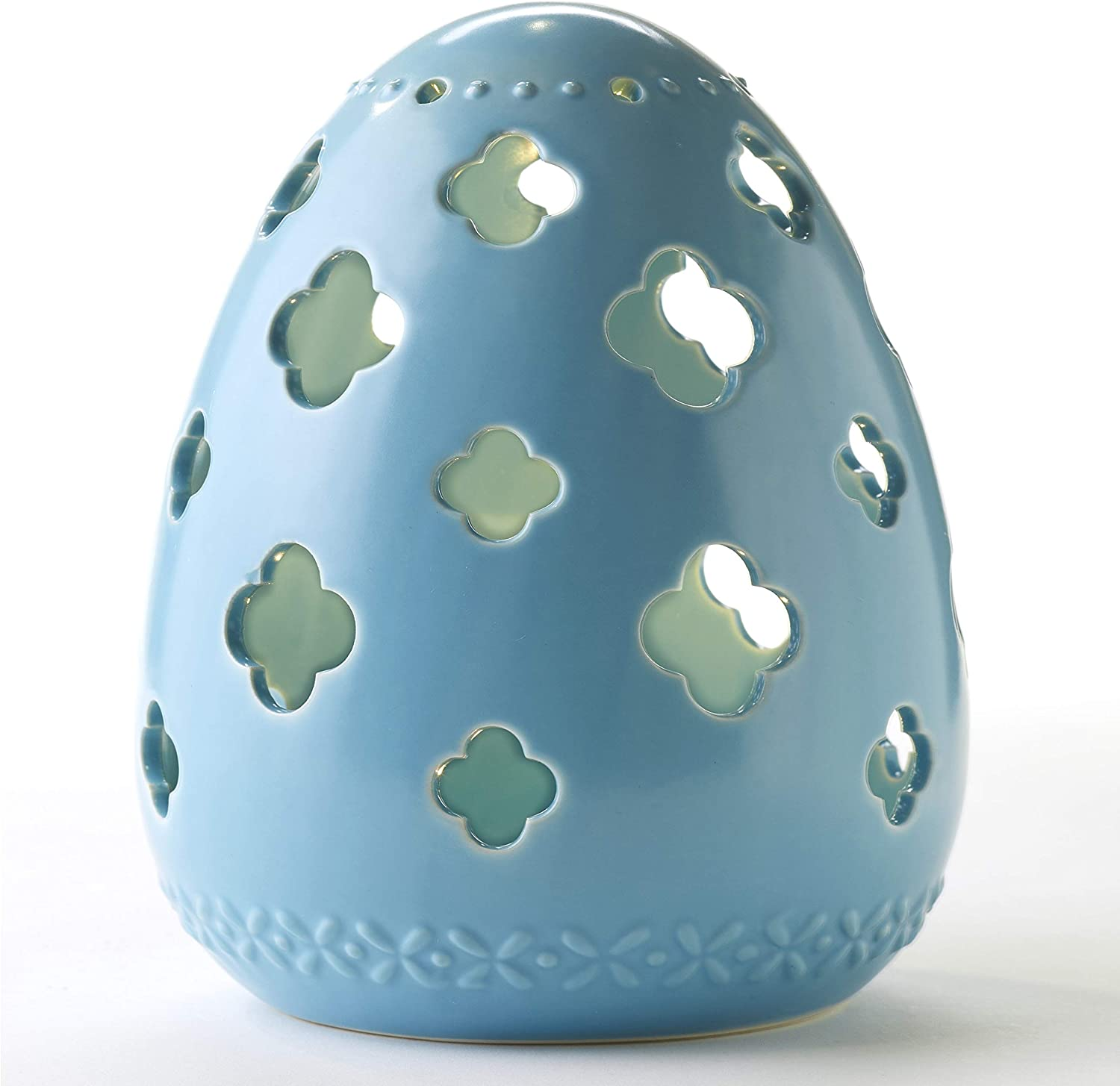 Amazon Com The Lakeside Collection Large Blue Lighted Ceramic Easter Egg For Decorating Light Up Indoor Accent Home Kitchen