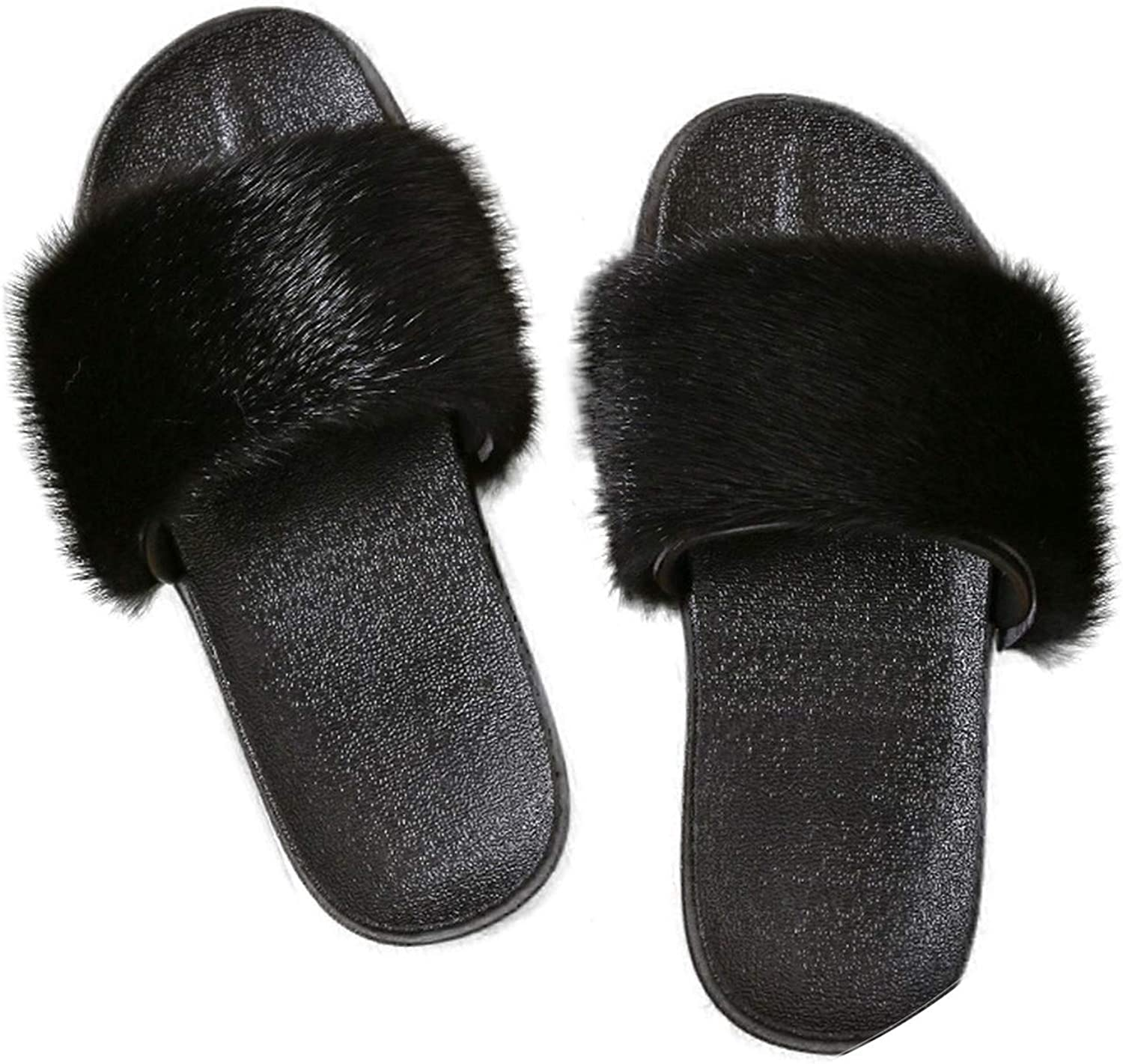 Luxury Women Real Mink Fur Sandals Fluffy Fur Slides Rubber Flat Non-Slip Casual Home Slippers Soft Lady Large Size Shoes,Black,7.5