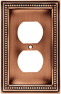 brainerd beaded single duplex outlet wall plate switch plate cover aged brushed