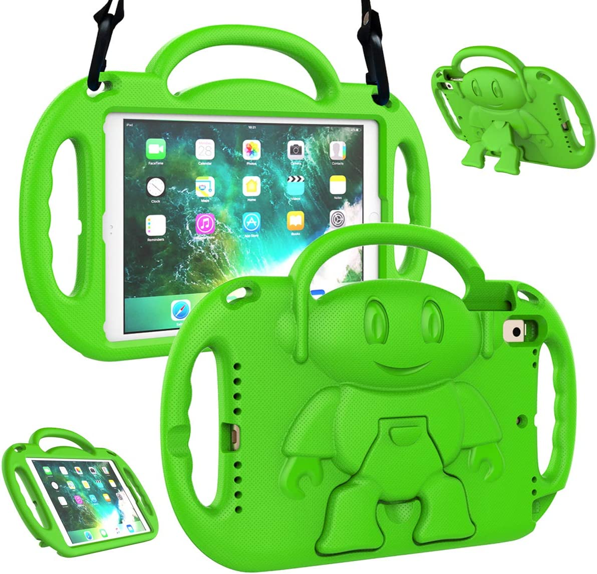 LTROP iPad 6th Generation Case, 9.7 iPad Case 2018, iPad 9.7-Inch Case - Light Weight Shock Proof Handle Stand Shoulder Strap Kids Case for 9.7 inch Apple iPad 6th Gen/ 5th Gen/ Air 2/ Air - Green