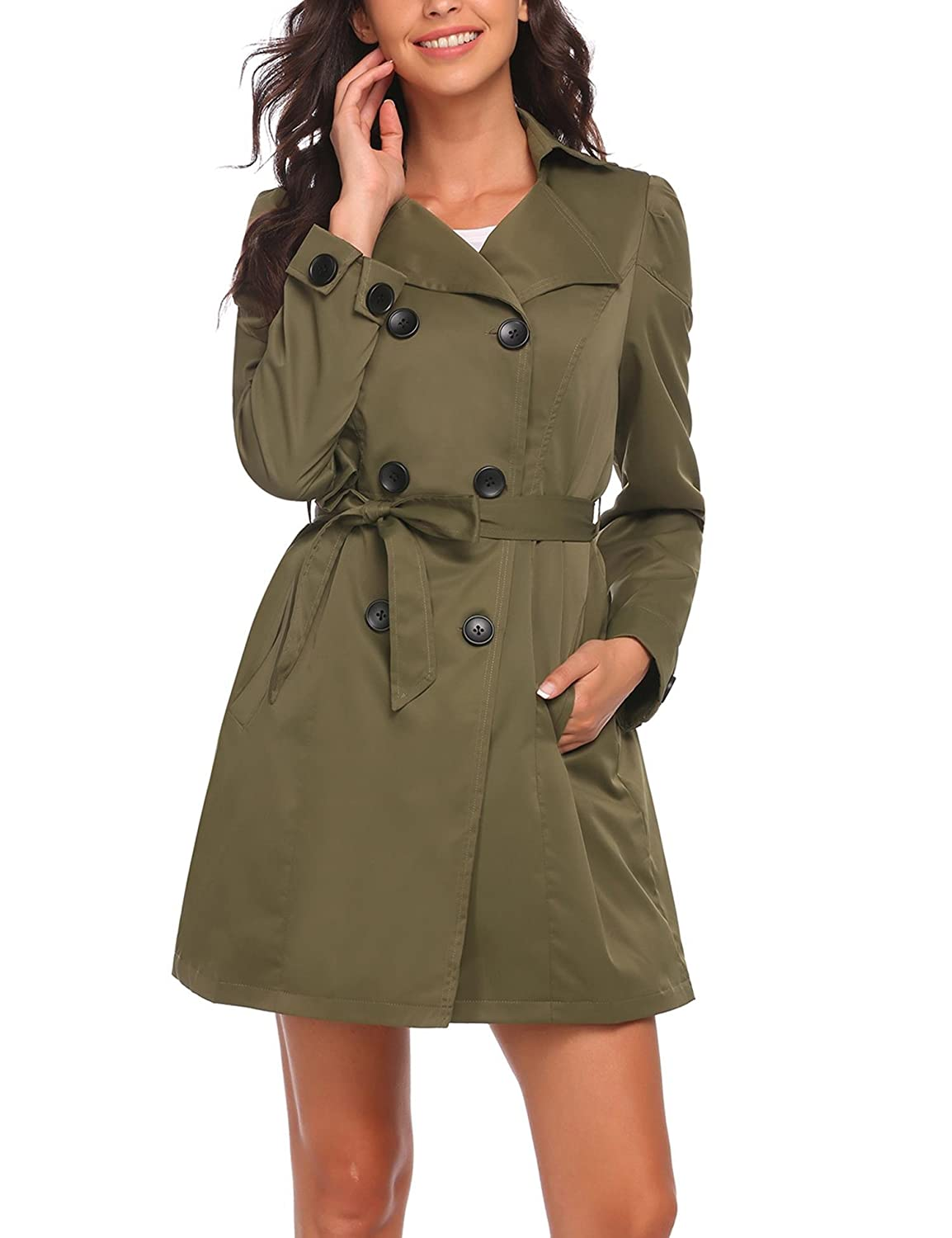 Meaneor Women Slim Fit Lapel Double-Breasted Bowknot Trench Coat with Belt