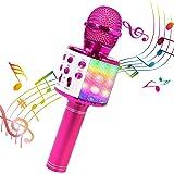 ShinePick Micrófono Karaoke Bluetooth, 4 en1 Microfono Inalámbrico Portátil con Luces LED para Niños Canta Partido…