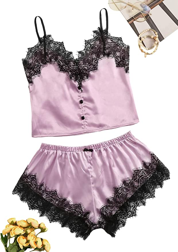 WDIRARA Womens 3 Pieces Satin Floral Lace Cami Top Lingerie Pajama Set with Robe