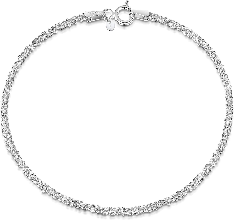 Amberta® Joyería - Pulsera - Fina Plata De Ley 925 - Cadena de Palomitas de maíz - 2 mm - 18 19 cm
