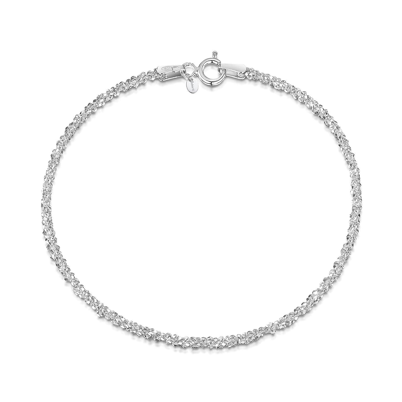 Amberta Bijoux - Bracelet - Chaîne Argent 925/1000 - Maille Diamantée - Largeur 2 mm - Longueur 18 19 cm BIA-S925-CHAIN-043-200-180