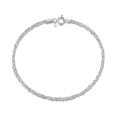 d34e31558eea Amberta® Joyería - Pulsera - Fina Plata De Ley 925 - Cadena de Palomitas de
