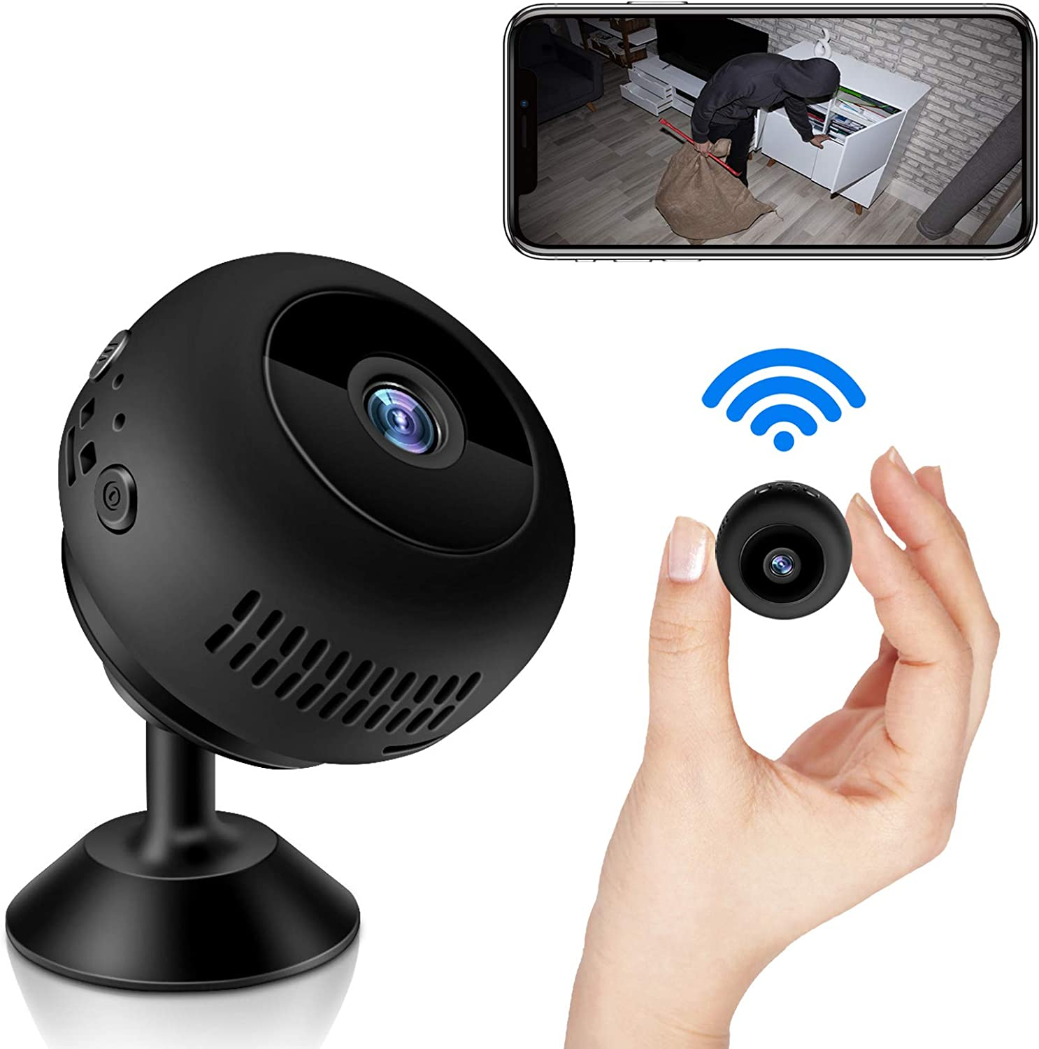 Mini Spy Camera, WiFi Wireless Hidden Camera 1080P Full HD, Portable Home Security Tiny Nanny Cam with Night Vision Motion Detection for Car Indoor Outdoor