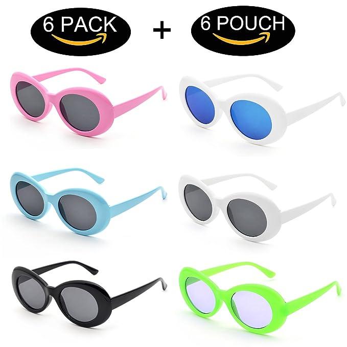 Amazon.com: Juego de 6 gafas de sol de estilo retro ovalado ...