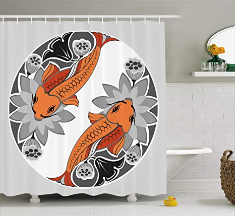 Lunarable Koi Fish Shower Curtain Beings Of Ancient Times Asian Ying Yang Form Flower Beds