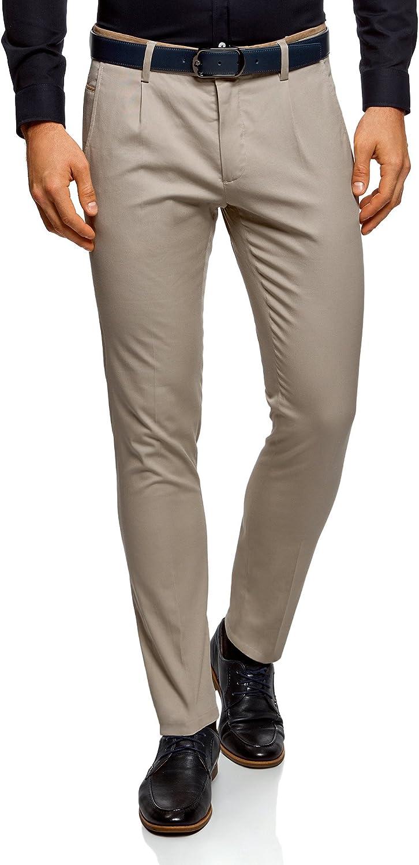 oodji Ultra Hombre Pantalones de Algodón con Acabado en Contraste